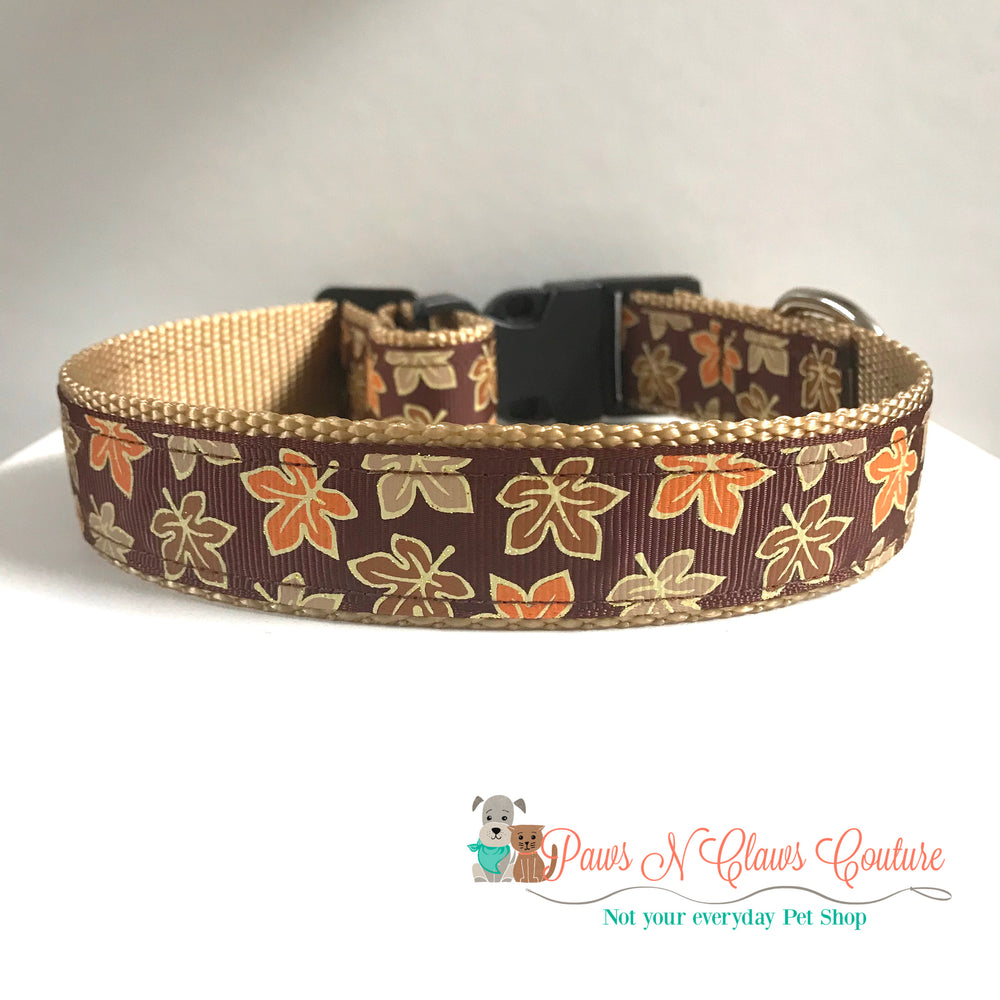 "1"" Glitter leaves Dog Collar, Leash Available"