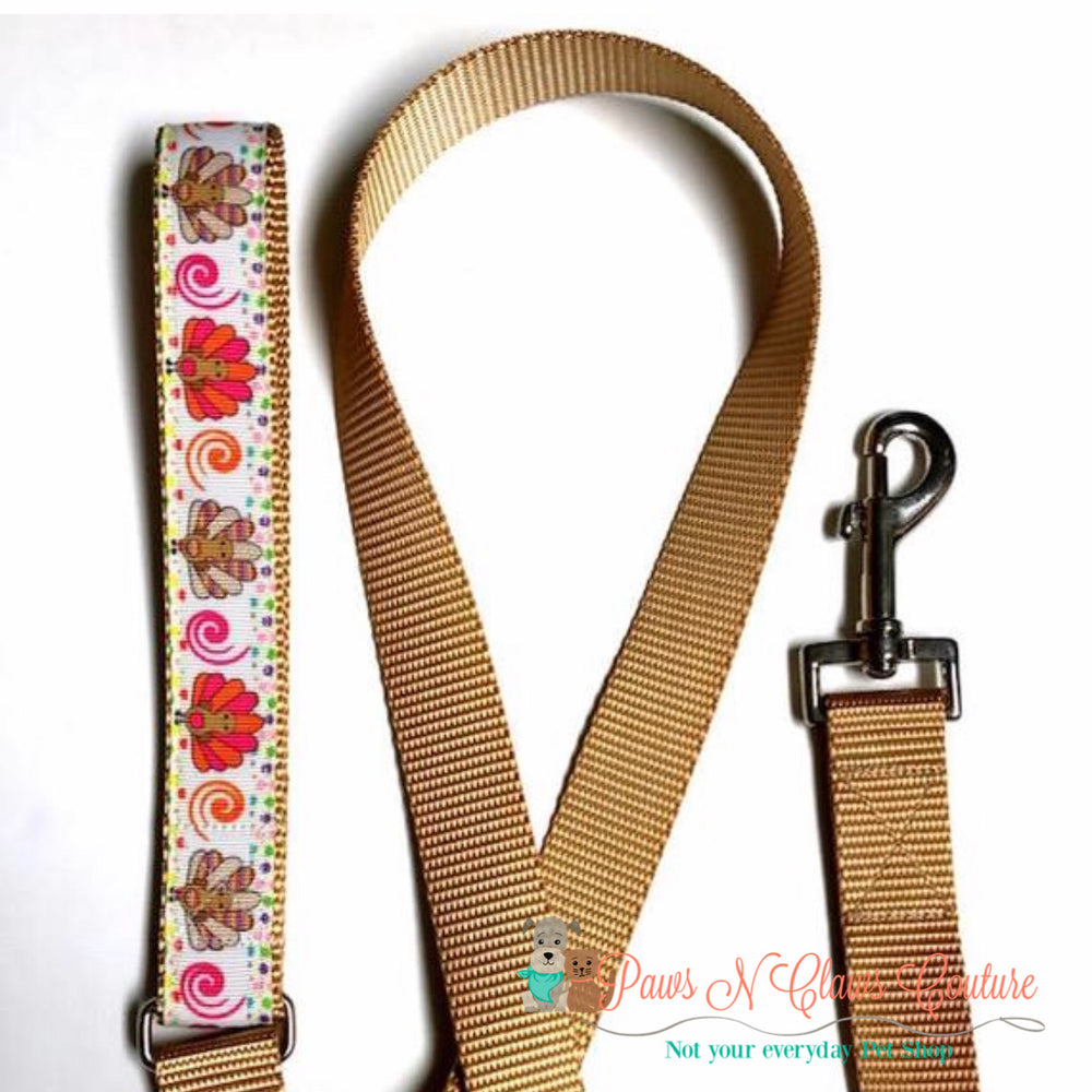 "1"" Turkeys and swirls Dog Collar, Leash Available - Paws N Claws Couture"