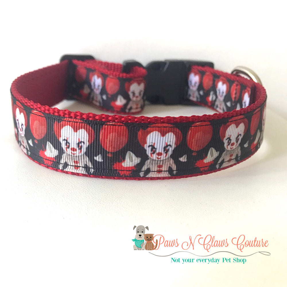 "1"" Red balloon inspired Dog Collar - Paws N Claws Couture"