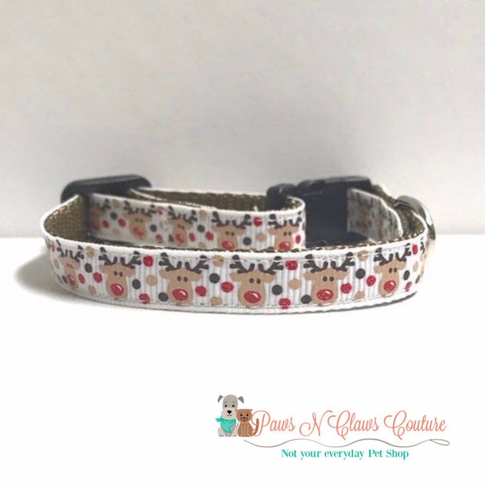 "3/8"" Reindeer on white Cat or Small Dog Collar - Paws N Claws Couture"