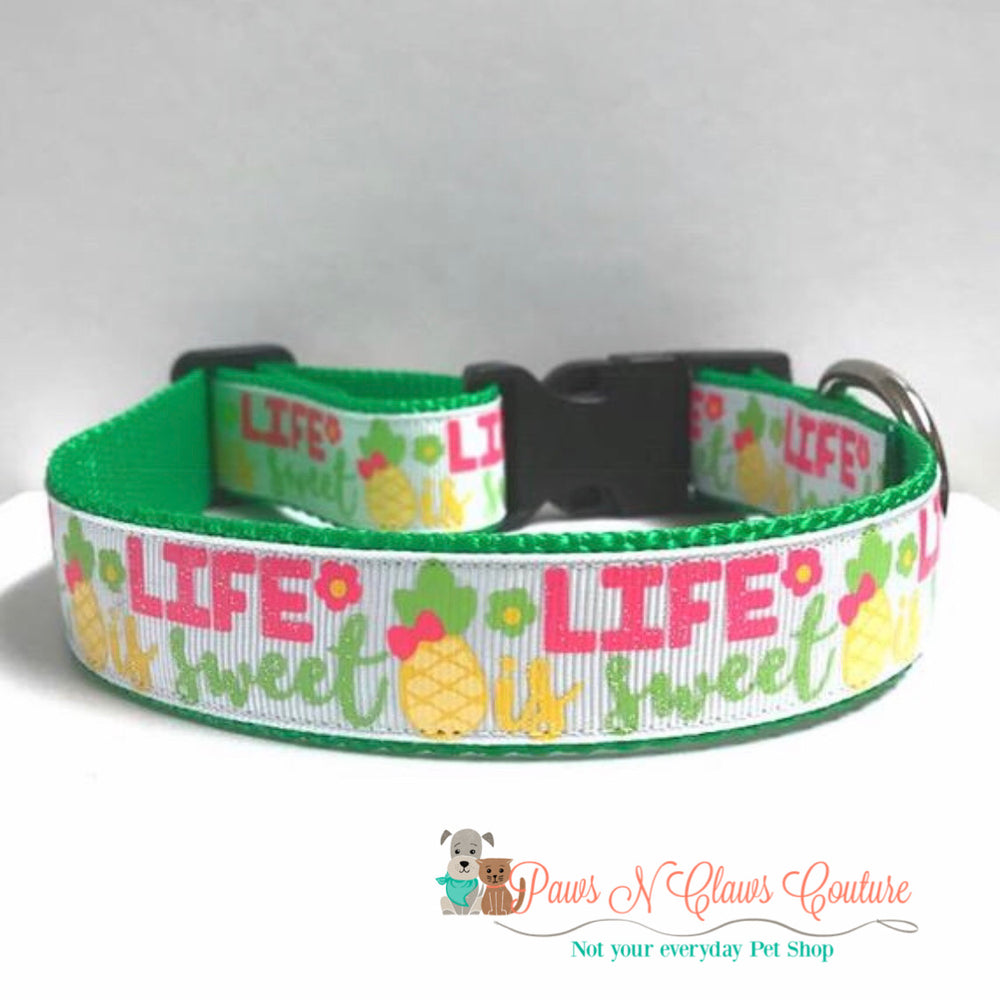 "1"" Life is sweet Dog Collar - Paws N Claws Couture"