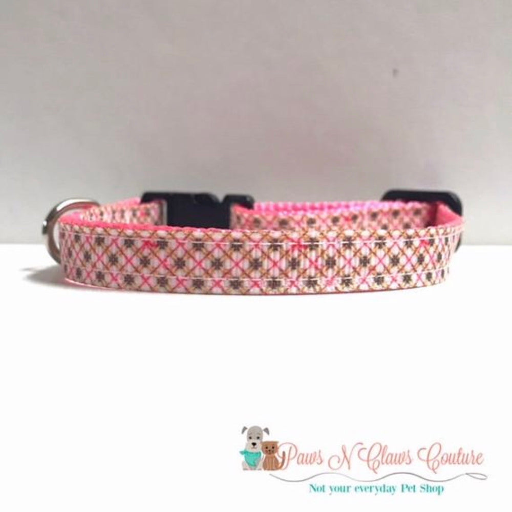 "3/8"" Pink plaid Cat or Small Dog Collar"