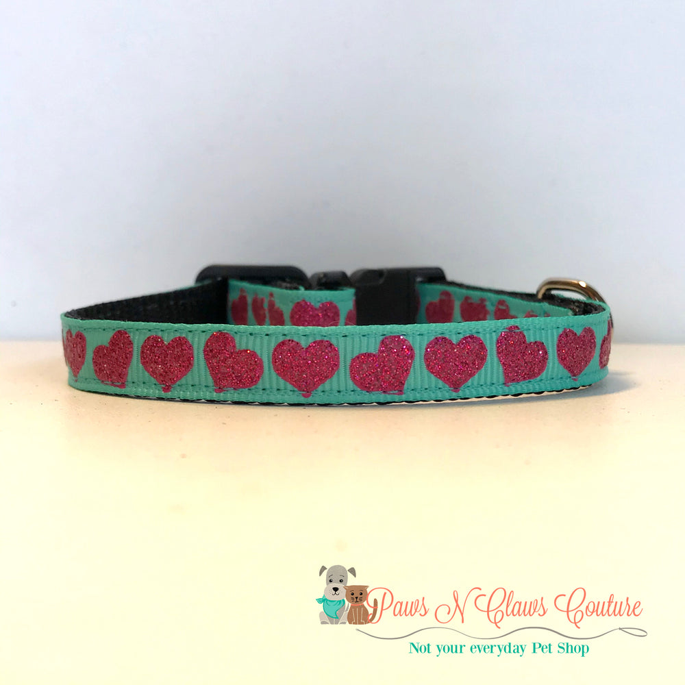 "3/8"" Pink hearts on teal Cat or Small Dog Collar - Paws N Claws Couture"