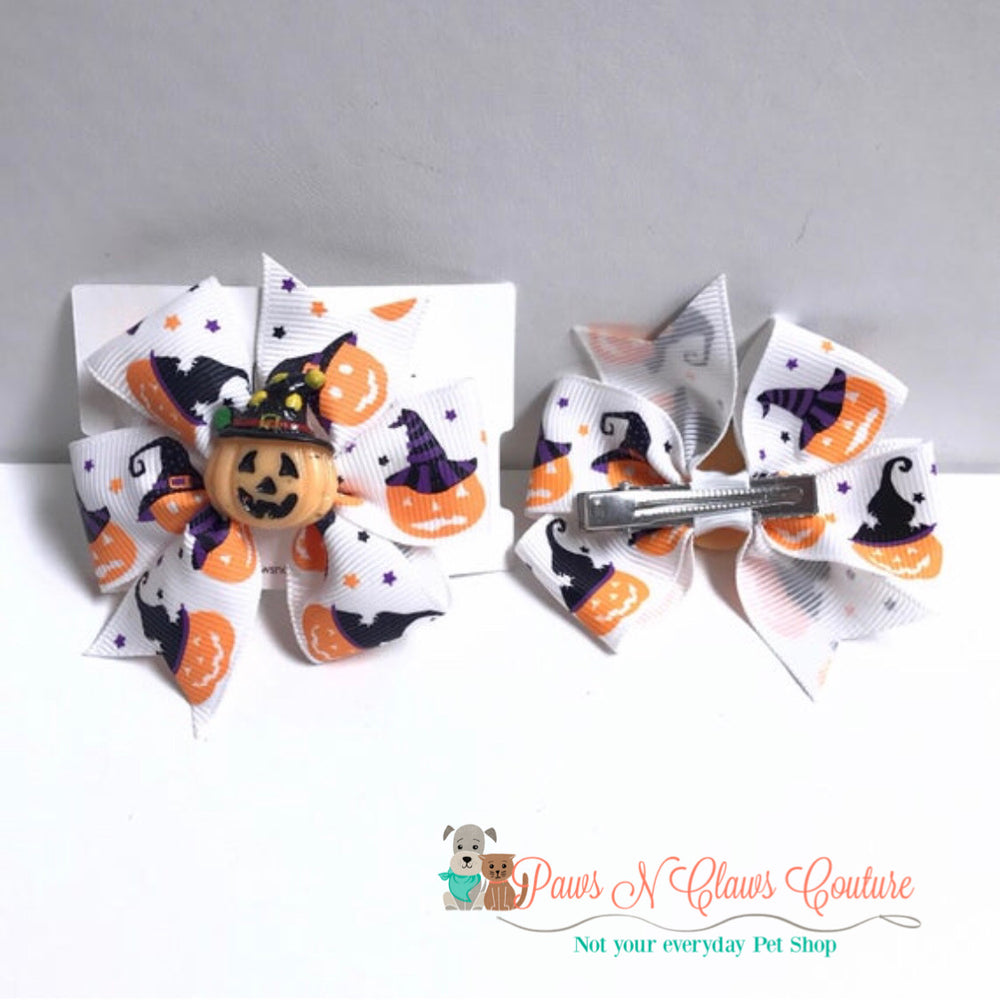 Jack O lantern on white hair clip - Paws N Claws Couture