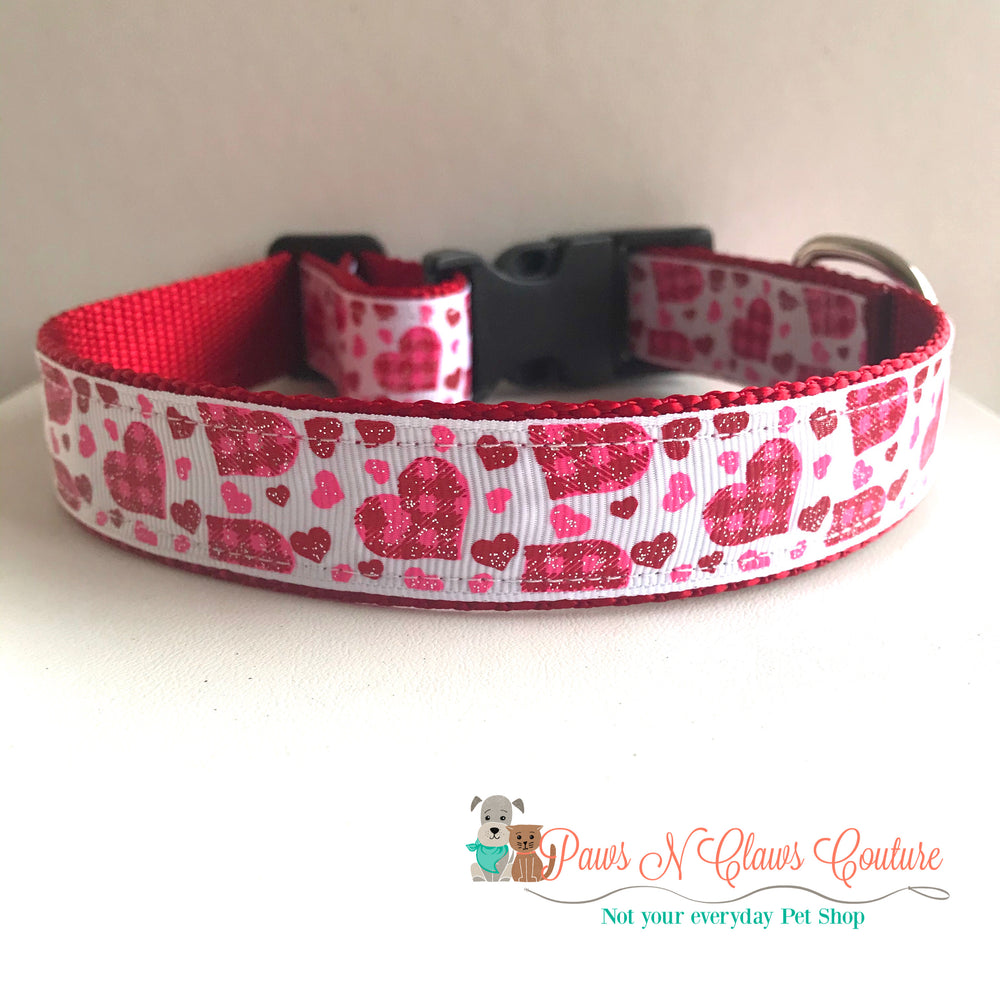 "1"" Plaid Hearts Dog Collar - Paws N Claws Couture"