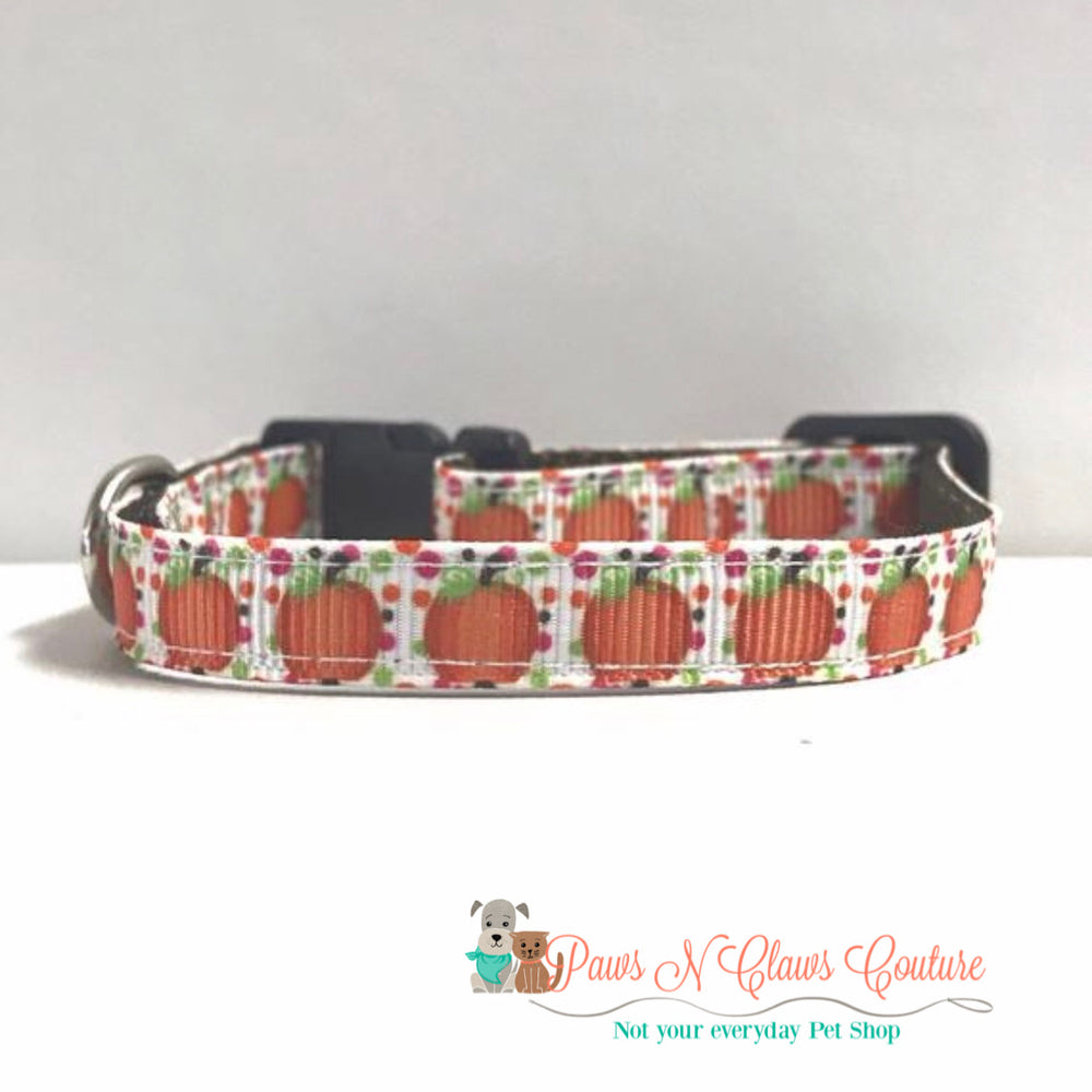 "3/8"" Confetti pumpkin Cat or Small Dog Collar - Paws N Claws Couture"