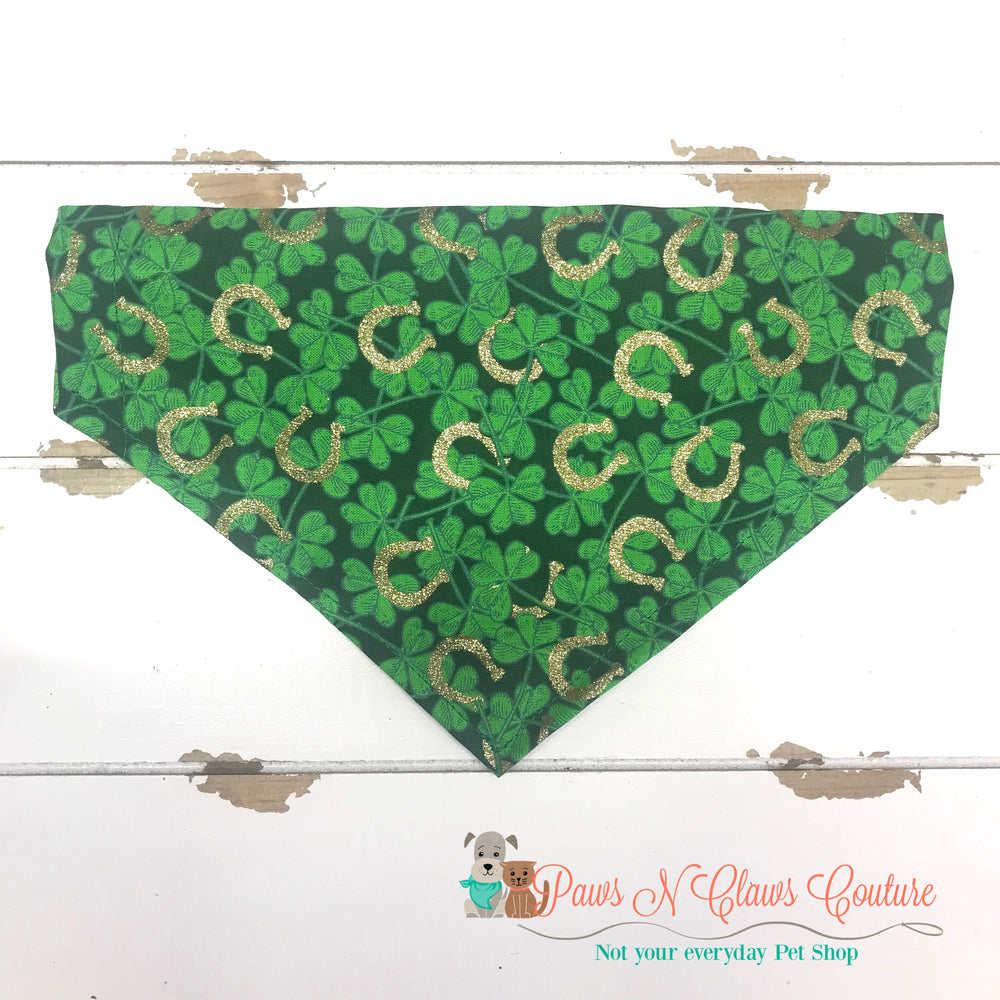 Gold horseshoe and clover Bandana - Paws N Claws Couture