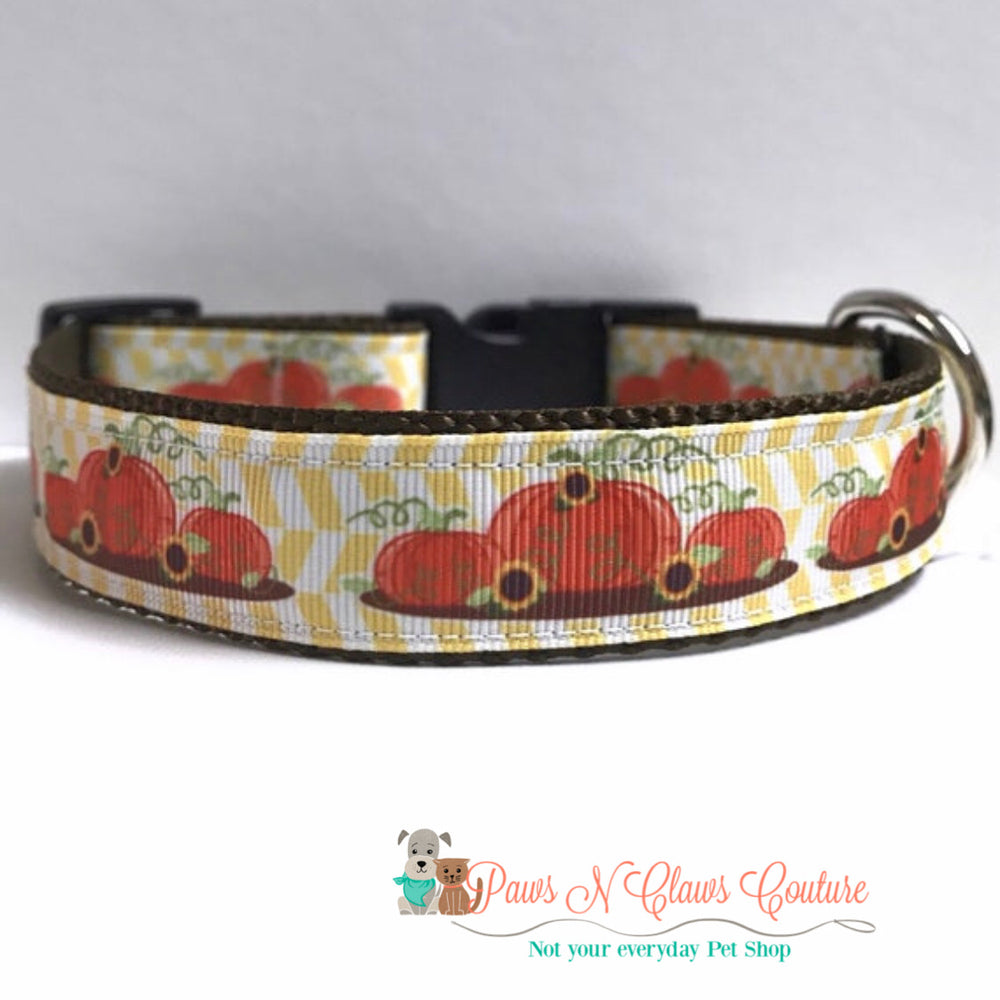 "1"" Three little pumpkins Dog Collar - Paws N Claws Couture"