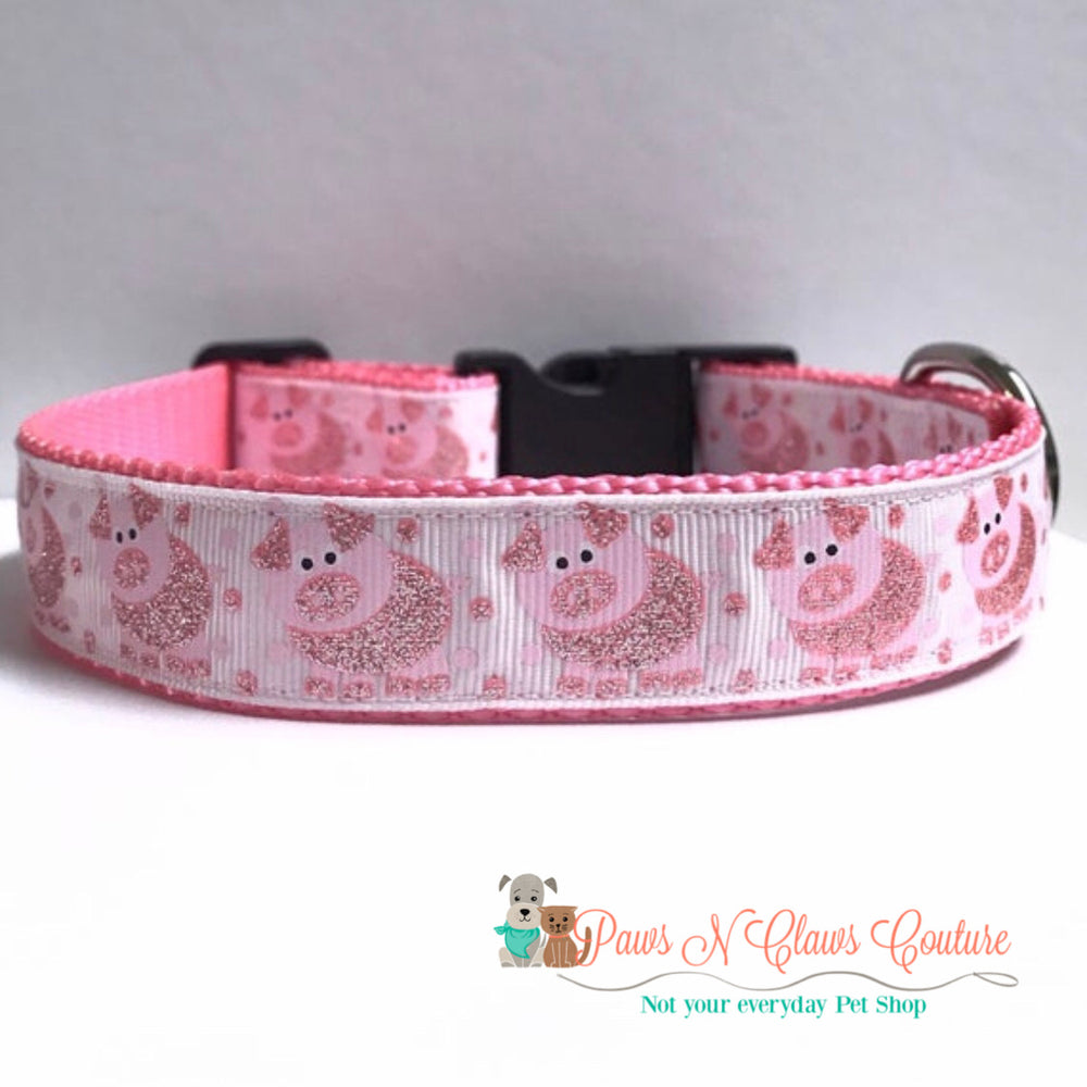 "1"" Spotted Pig Dog Collar - Paws N Claws Couture"