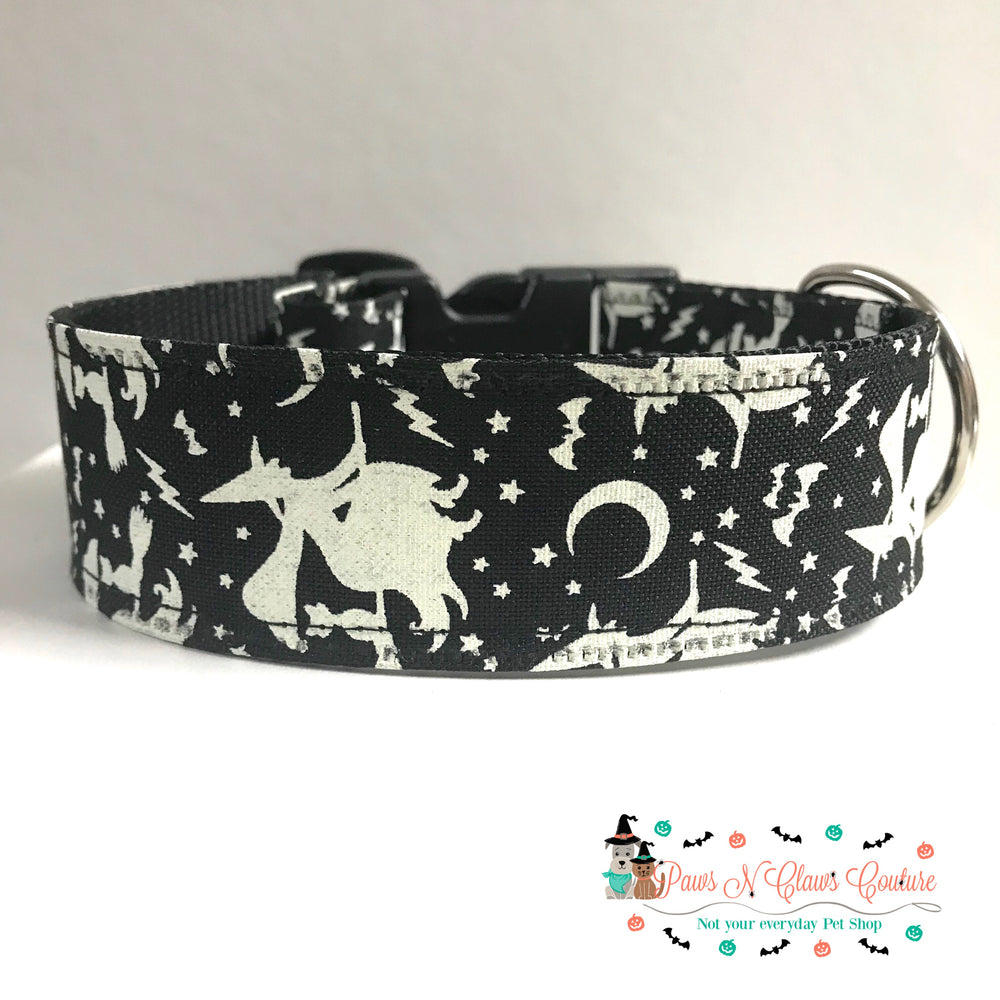"1.5"" Witch and cat Dog Collar - Paws N Claws Couture"