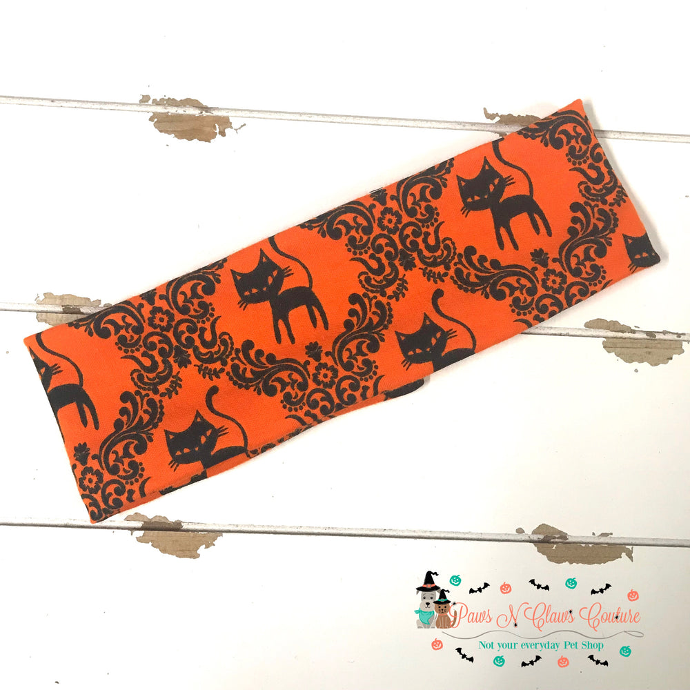 Black cat and damask Headband - Paws N Claws Couture