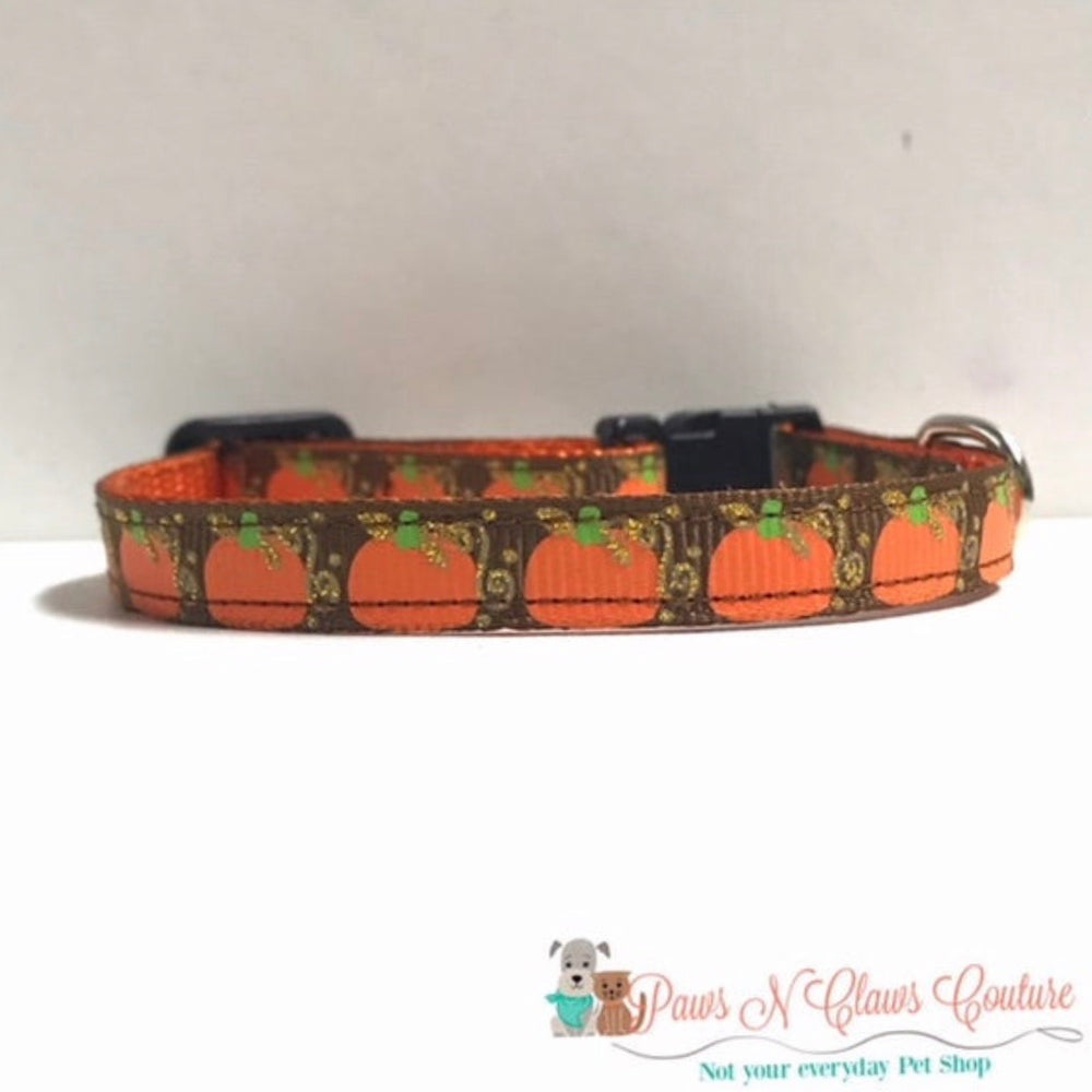 "3/8"" Pumpkins on Brown with vines Cat or Small Dog Collar - Paws N Claws Couture"