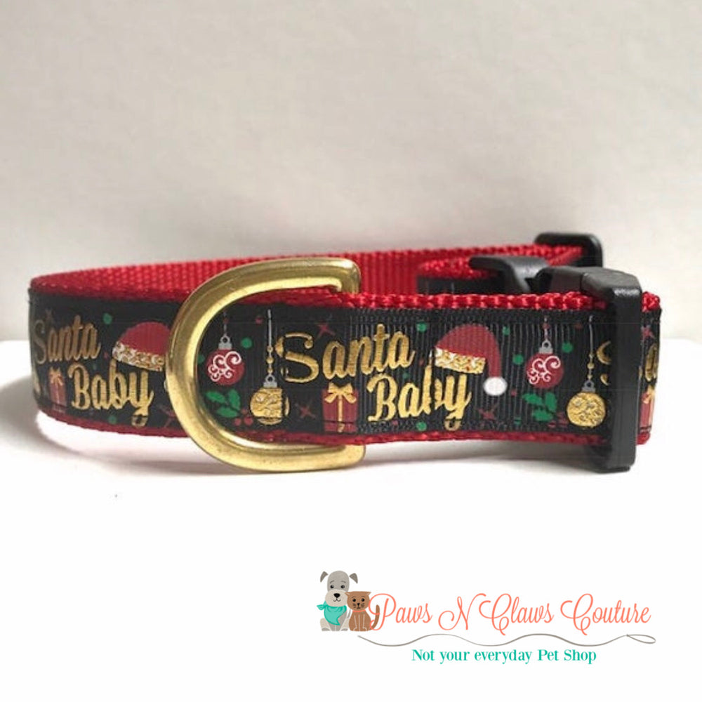 "1"" Santa Baby in black Dog Collar - Paws N Claws Couture"