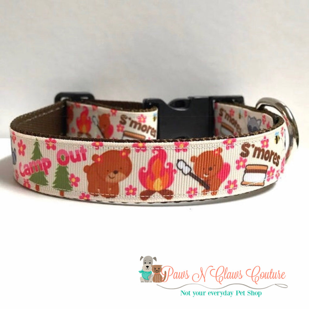 "1"" Campout and s'mores Dog Collar - Paws N Claws Couture"