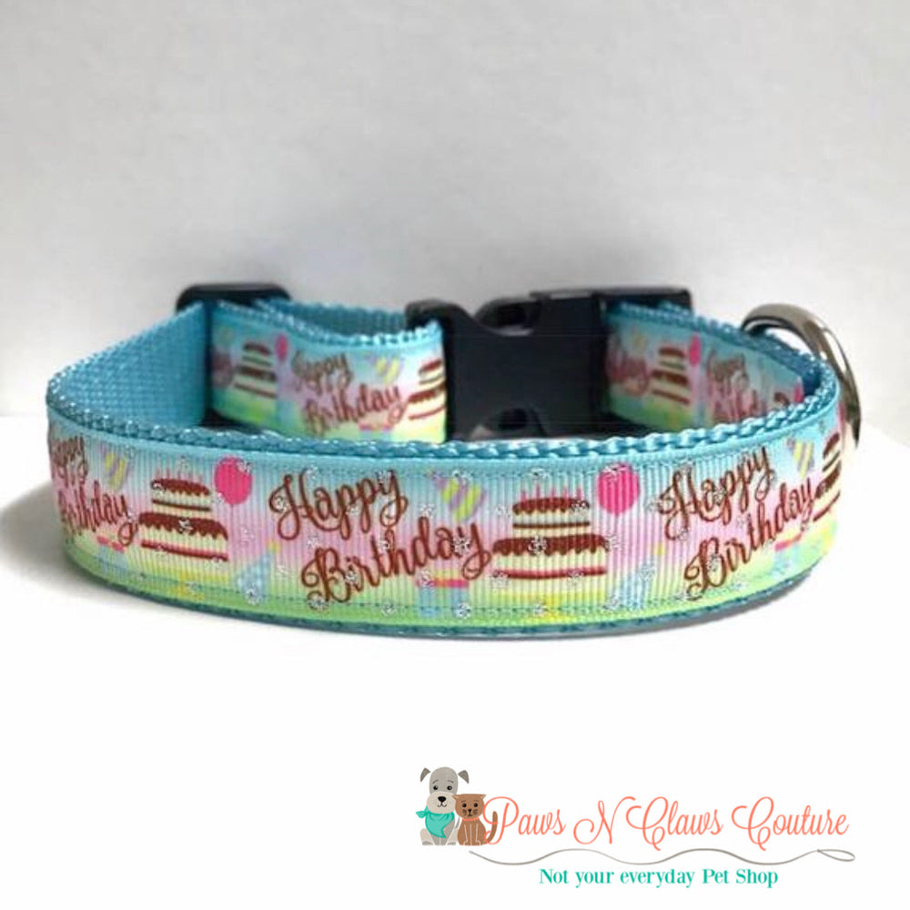 "1"" Happy Birthday Cake Dog Collar"