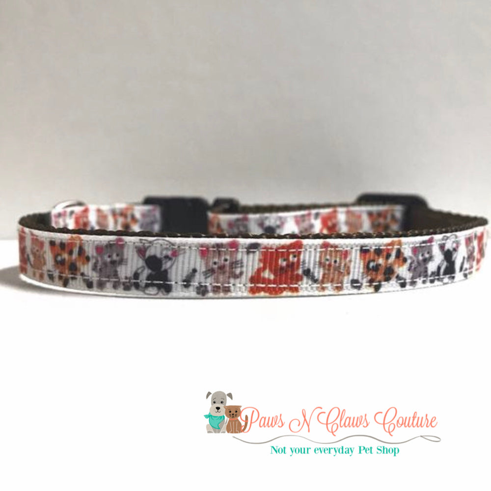"3/8"" Kitty playtime Cat or Small Dog Collar - Paws N Claws Couture"