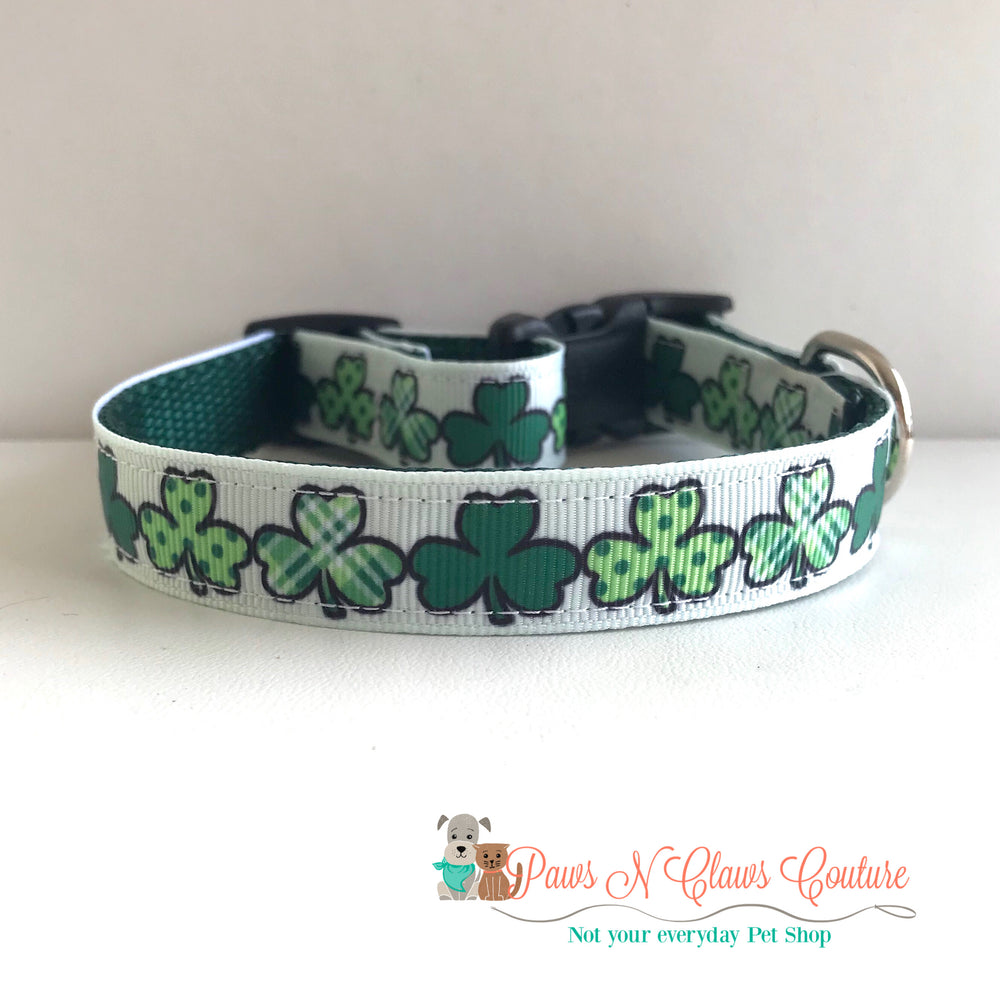 "5/8"" Green clovers Dog Collar - Paws N Claws Couture"