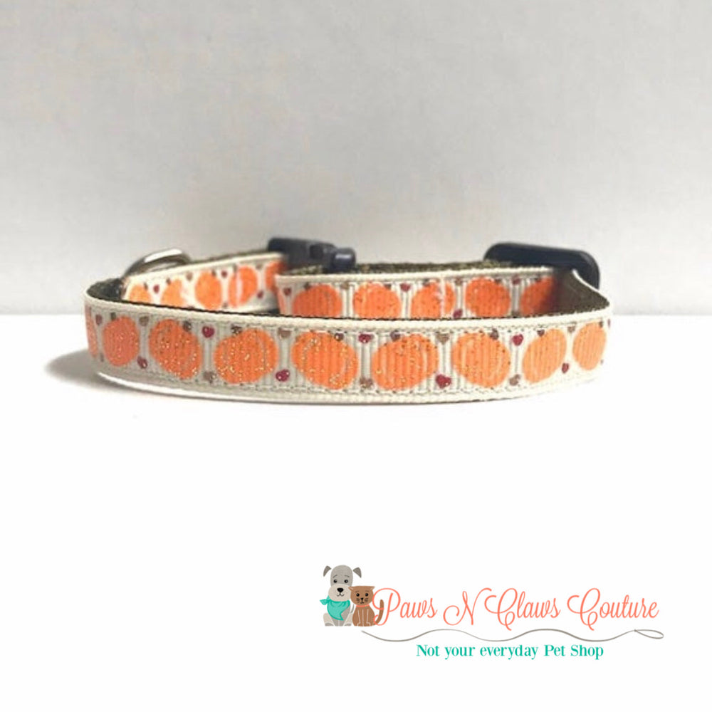 "3/8"" pumpkins & hearts Cat or Small Dog Collar - Paws N Claws Couture"