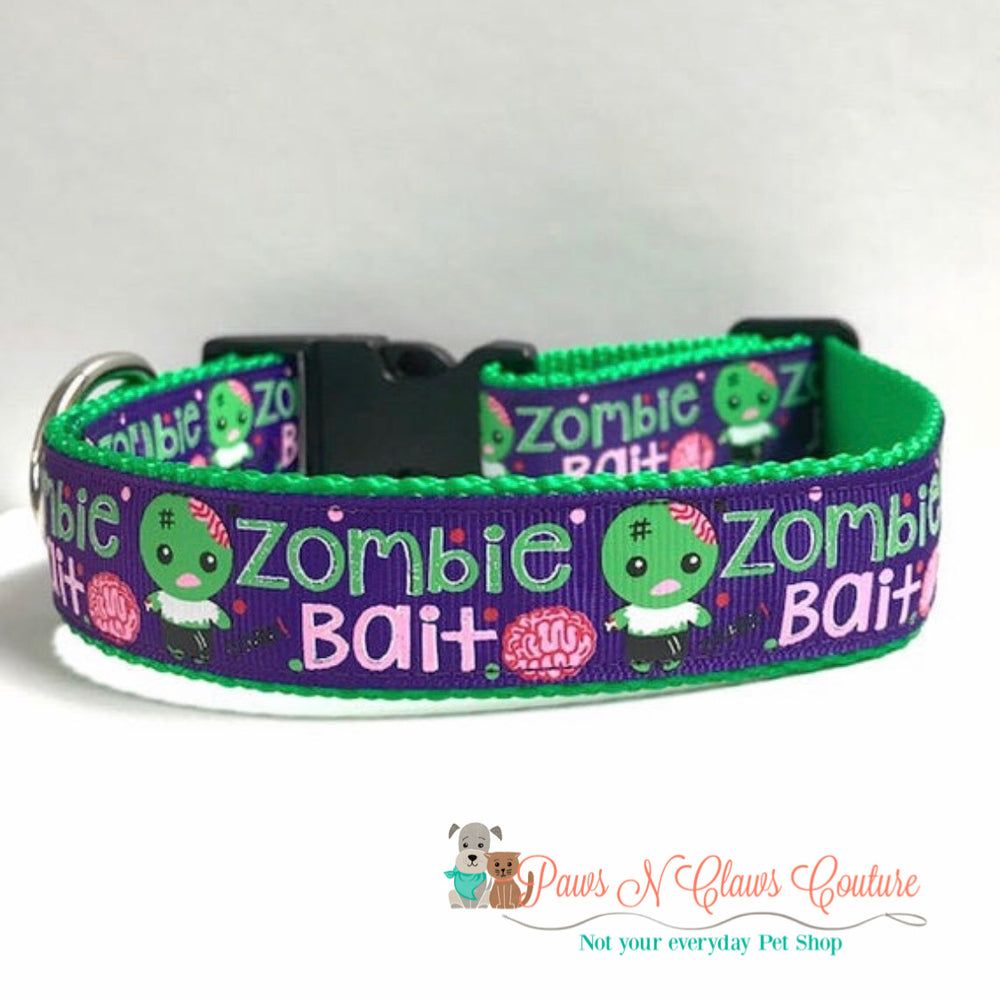 "1"" Zombie Bait Dog Collar - Paws N Claws Couture"