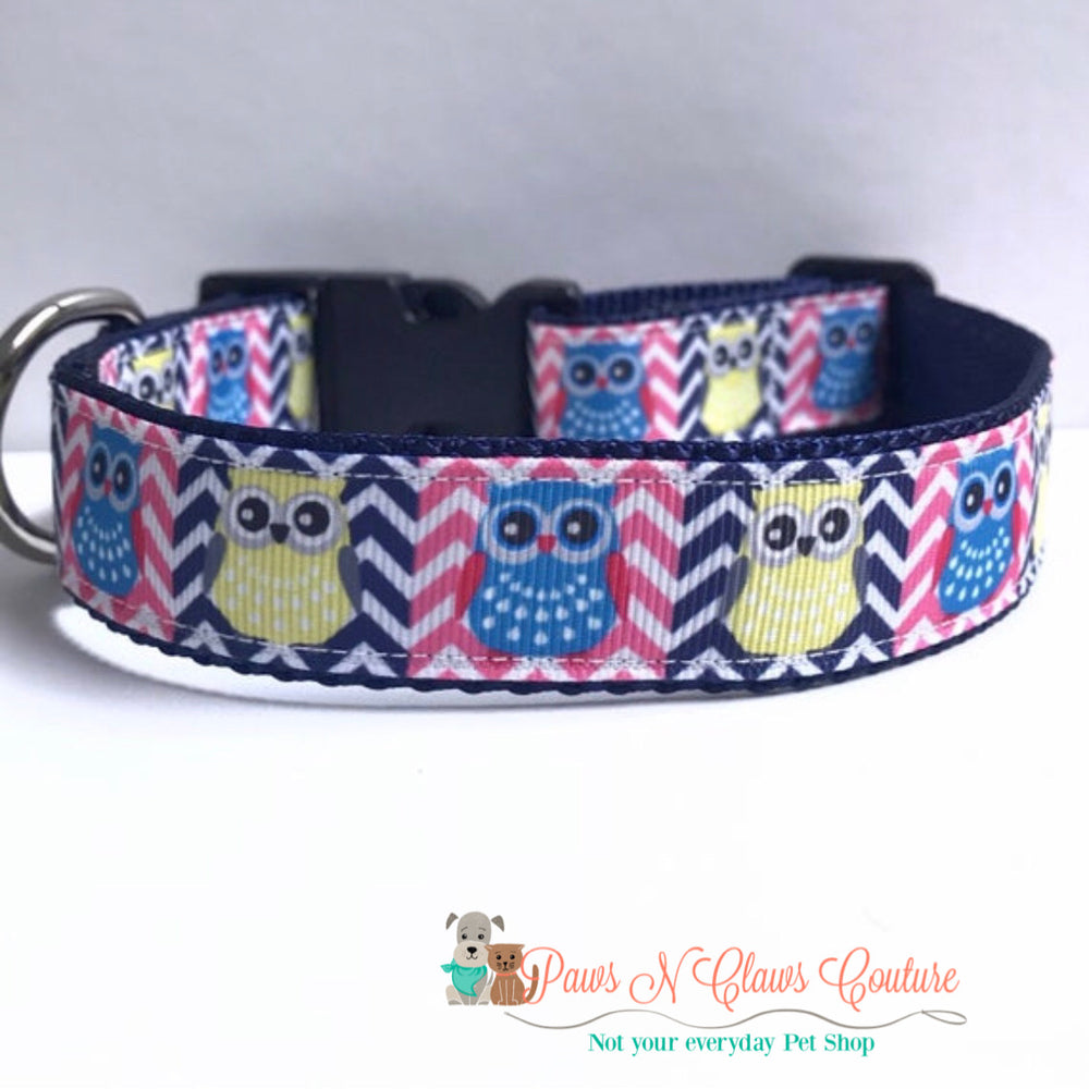 "1"" Chevron owls Dog Collar - Paws N Claws Couture"