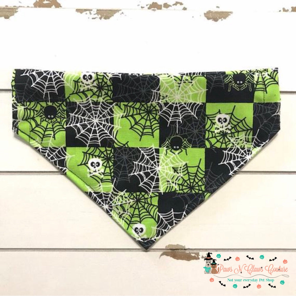 Spiderweb checkerboard Bandana - Paws N Claws Couture