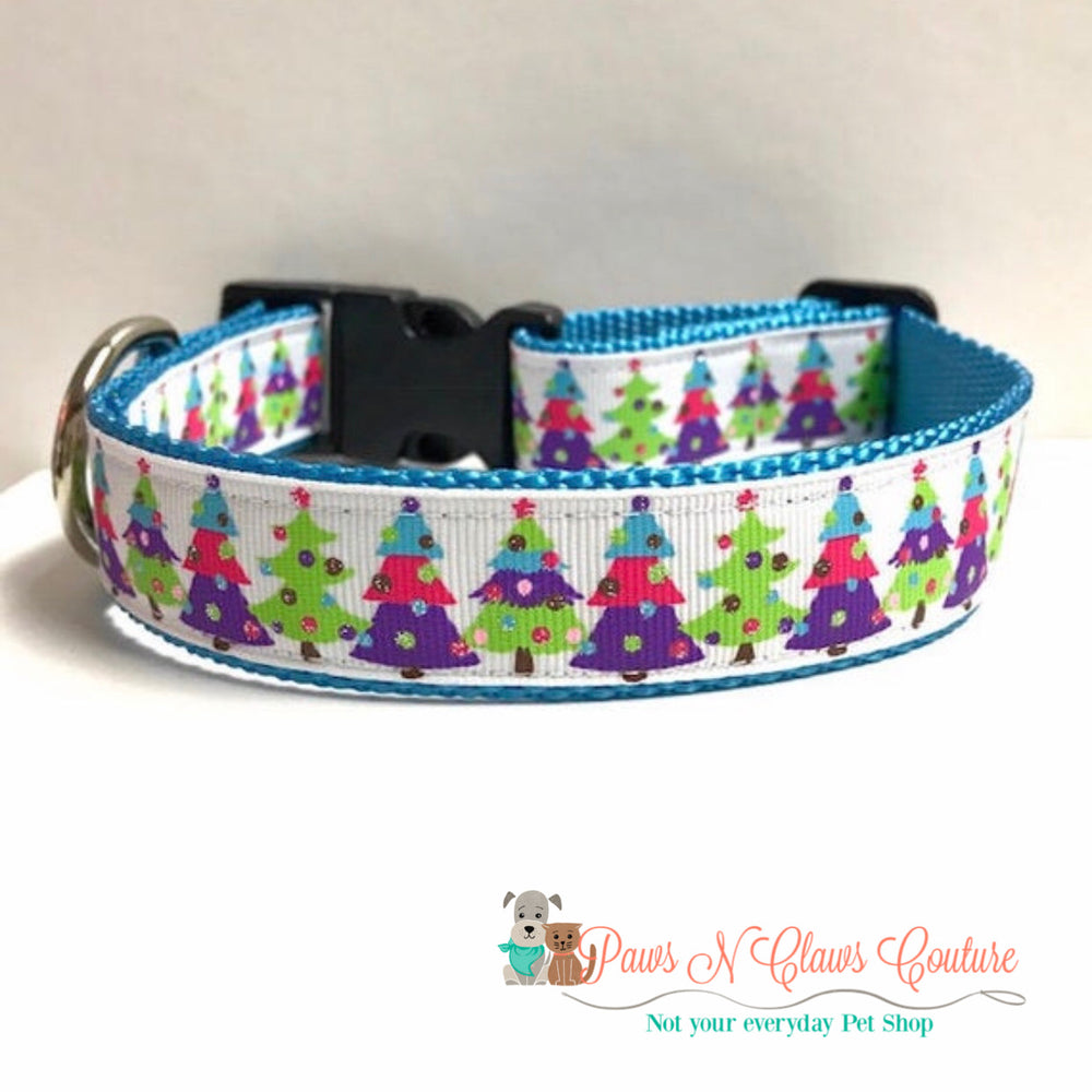 "1"" Dotted trees Dog Collar - Paws N Claws Couture"