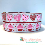 "1"" Heart Cookies or Cupcakes Dog Collar - Paws N Claws Couture"