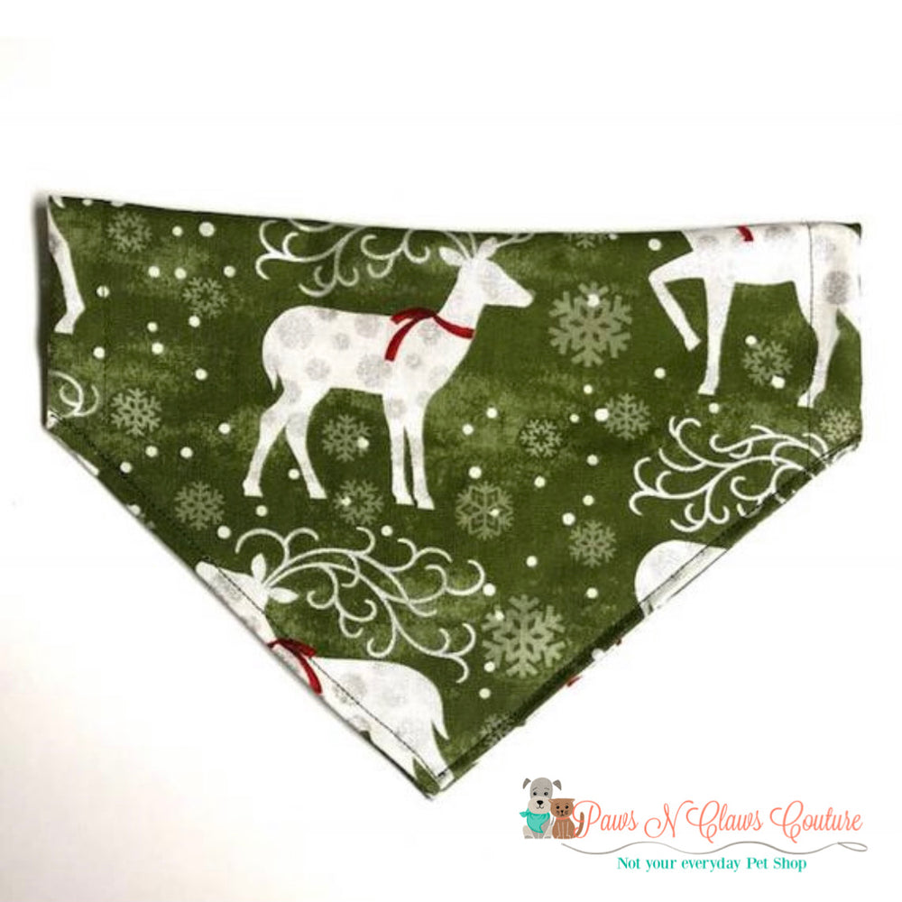 Deer on olive Bandana - Paws N Claws Couture