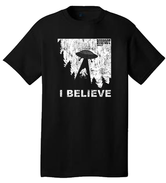 I BELIEVE Bigfoot UFO Tee Shirt