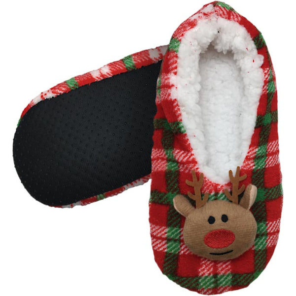Plaid Reindeer Slippers