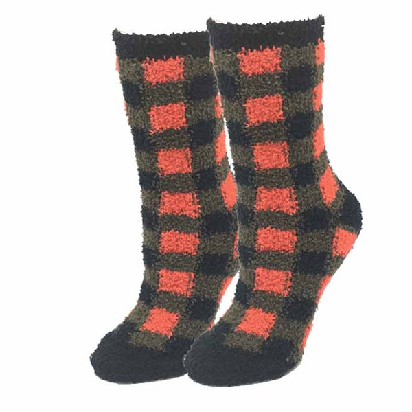 Ladies Lumberjack Plaid Fuzzy Socks