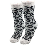 White Leopard Fuzzy Socks