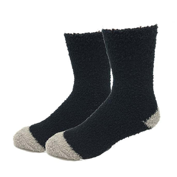 Black Contrast Fuzzy Socks