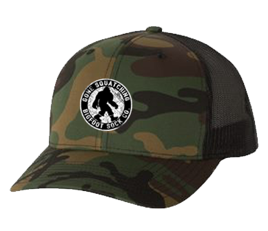 Gone Squatching Camo Curved Bill Snap Back Cap
