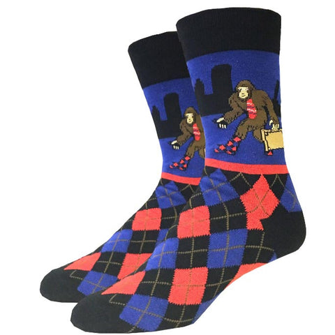 Skiing Bigfoot Socks