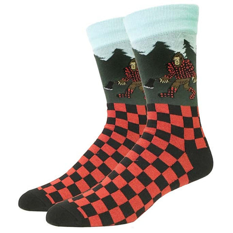 Mens Lumberjack Plaid Fuzzy Socks