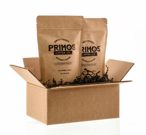 Primos Coffee Company is single estate specialty coffee that has been family grown since 1929. Gift box includes 2 bags of coffee or 2 k-cups. It comes in a 12 ounce resealable bag in either medium roast or dark roast. Grind choices include coarse grind for French press, medium grind for drip brewing or fine grind for espresso. Gifts can be a mixture of roasts.Shipping is free.