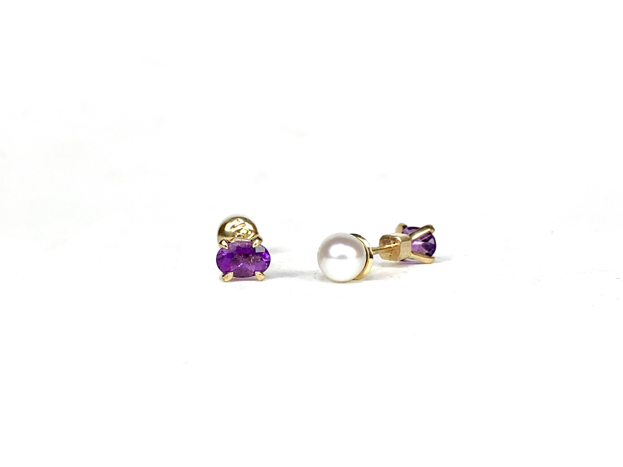 Yulia Amethyst and pearl studs
