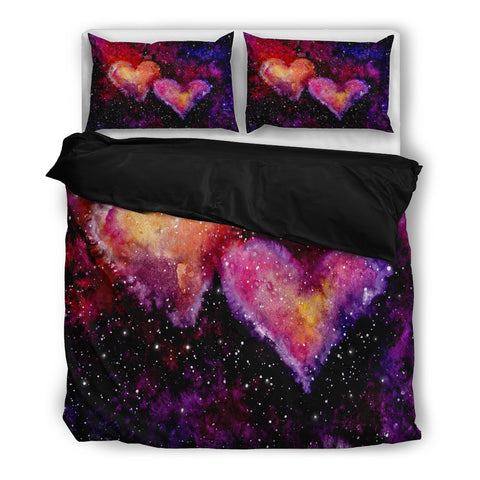 Watercolor Bright Pink Hearts Nebula and Deep Space Bedding Set - Black
