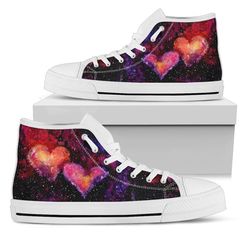 Watercolor Bright Pink Hearts Nebula and Deep Space - Men's White