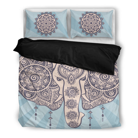 African Elephant Tribal Bedding Set - Black
