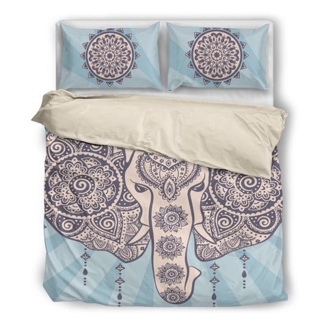 African Elephant Tribal Bedding Set - Beige