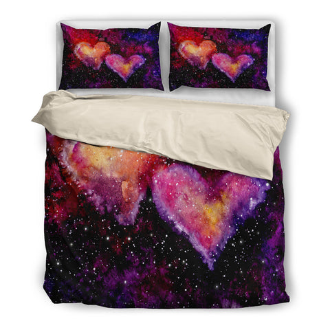 Watercolor Bright Pink Hearts Nebula and Deep Space Bedding Set - Beige