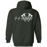 Native Inspired Heart Beating Battle Axe Hoodies - Back Print