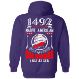 Native American Discovered Columbus Hoodies - Back Print