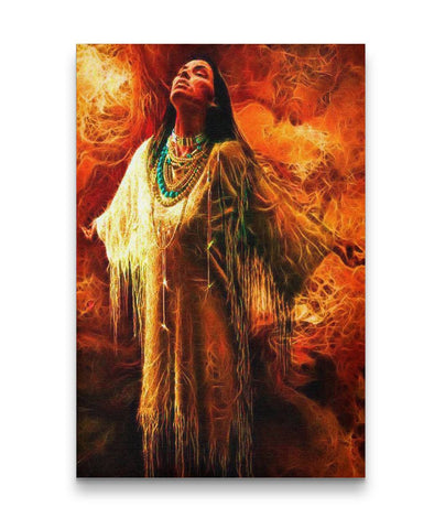 Native American Woman Fire