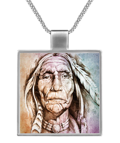 Native American Founding Fathers  Square Necklace