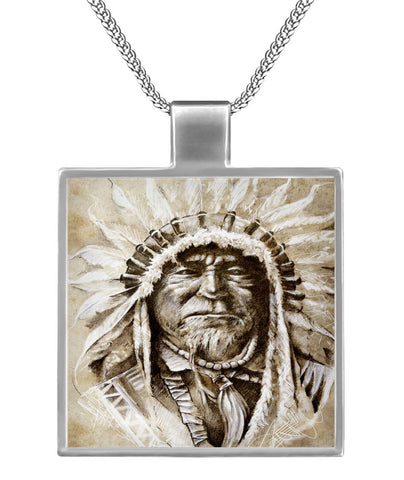 Native American Founding Father Square Necklace