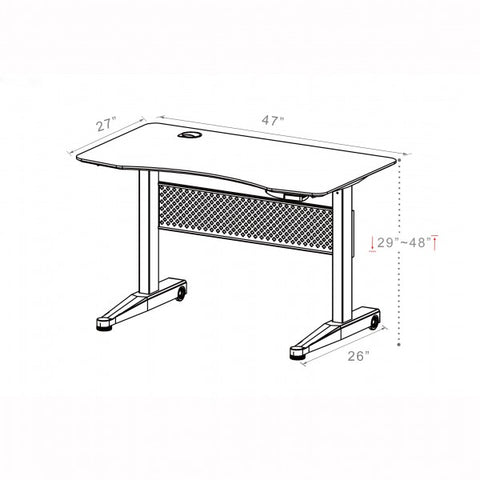 ApexDesk Airdesk Pneumatic 47x27 Dimensional Illustration