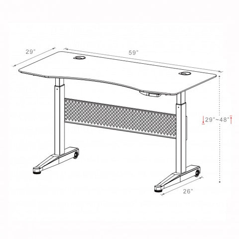 ApexDesk Airdesk Pneumatic 59x29 dimensional illustration